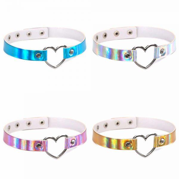 Accessoires colliers ras de cou holographiques et colorés