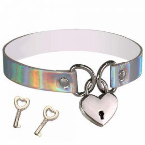 Collier choker holographique avec cadenas coeur et clés