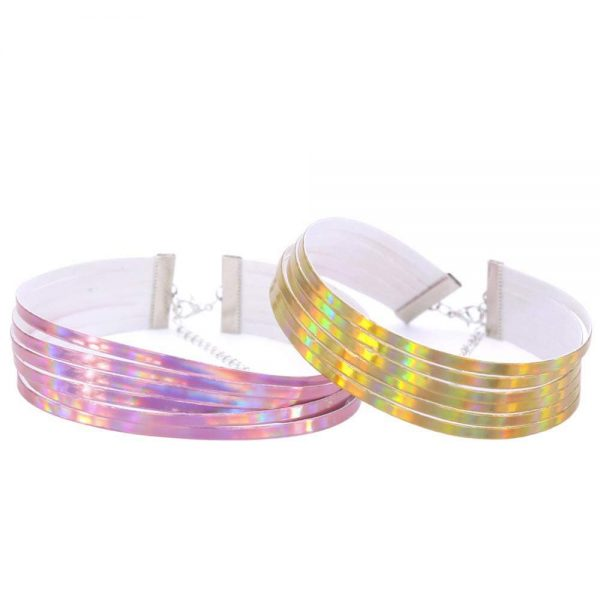 Sautoirs à fines bandelettes holographiques