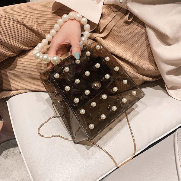 Sac de soirée noir mini femme avec perles