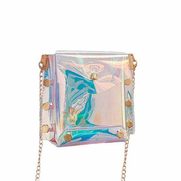 Pochette de soirée holographique avec chaînette or