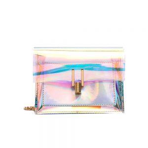 Pochette de soirée holographique reflets irisés