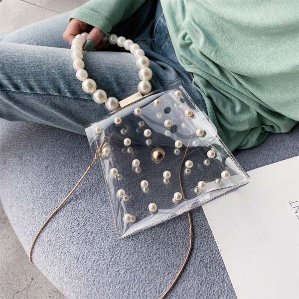 Sac de soirée femme transparent avec perles