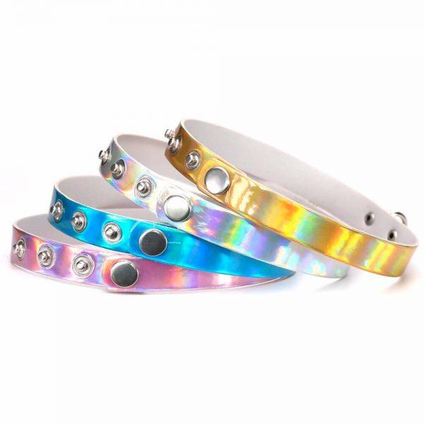 Fermeture colliers chokers colorés et holographiques
